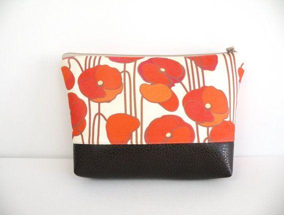 Orange Poppy Organizer Laminated fabric Lining Faux Leather