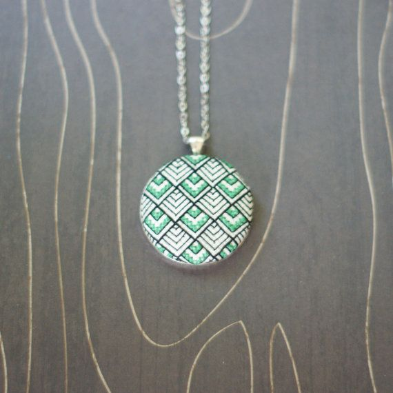 Tokyo Deco cross stitch necklace/ pendant by TheWerkShoppe on Etsy, $44.00