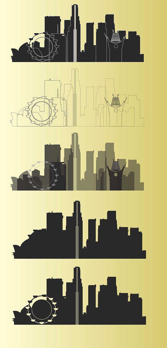 Los Angeles vector. Silhouette of Los Angeles, City Clipart, City Vector, Silhouette, Instant Download.  LA vector. CDR, Ai, EPS, Png