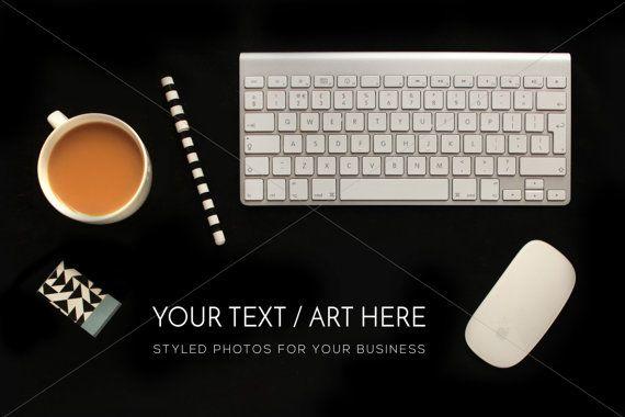 Desktop Photography Template Keyboard tea styled by confettibears