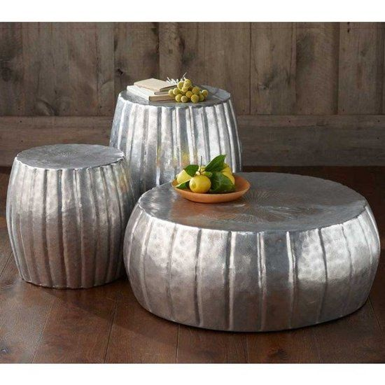 Versatile Outdoor Decor – Hammered drum tables would be such a pretty coffee table alterbative