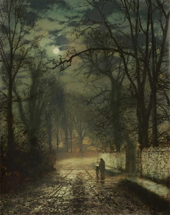 I love this painting!  You could write a whole story on this.  It speaks.  'Moonlit Lane' - John Atkinson Grimshaw: oil.