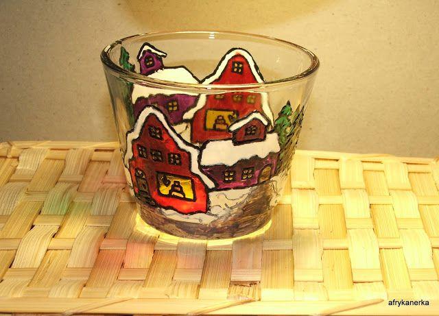 Świąteczny świecznik szklany malowany / Stained glass christmas lantern