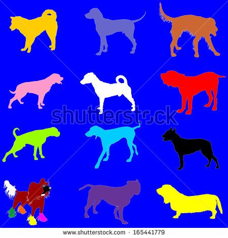 http://image.shutterstock.com/display_pic_with_logo/901501/165441779/stock-vector-set-of-different-color-vector-silhouette-of-dogs-isolated-on-blue-background-illustration-of-165441779.jpg