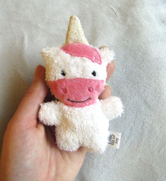 Mini Plush Unicorn Pink White Tiny Baby Animal Stuffed