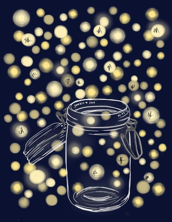 DIY Printable Thumbprint Tree Guest Book Alternative: Fireflies in Mason Jar on Etsy, $20.00