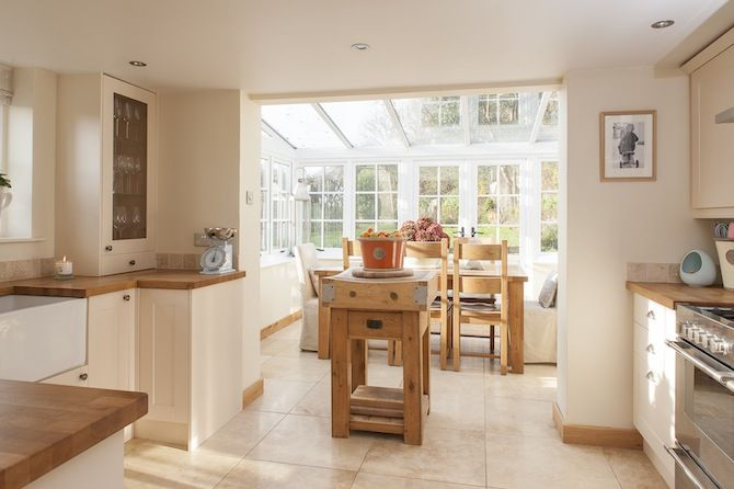 Probably cheaper. Current kitchen becomes utility,entry. Dining room becomes new kitchen and conservatory is dining room.