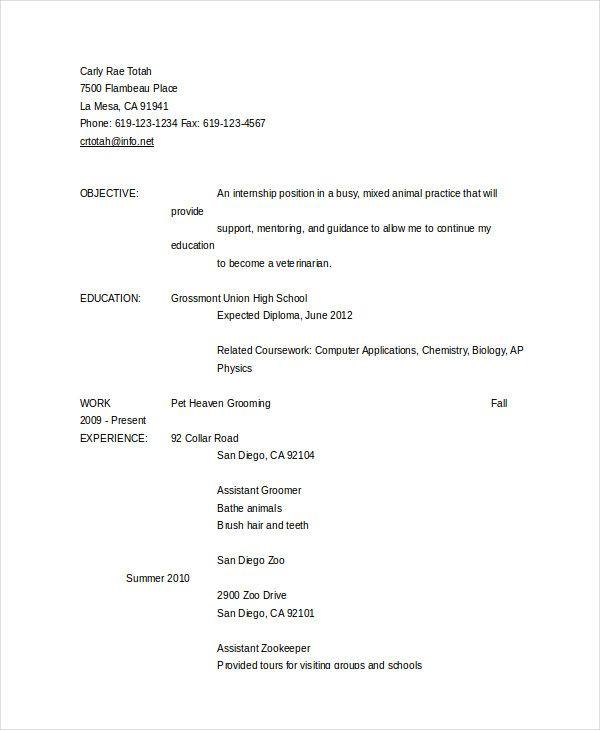 Resume Format Zookeeper In 2020 Resume Format In Word Resume Resume Examples