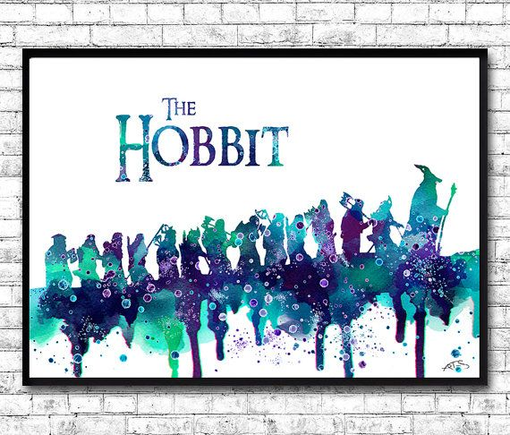The Hobbit Watercolor Print Lord of the Rings by ArtsPrint on Etsy