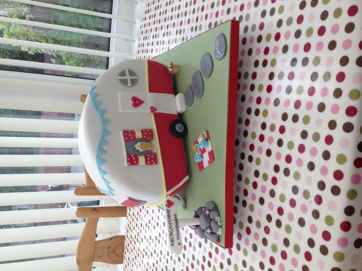 Mims Cakes. Cute caravan cake for a leaving party.