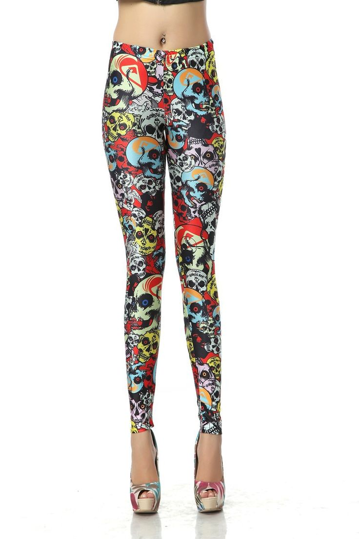 SEXY LADY GALAXY LEGGINGS PRINTED COSMIC SPACE PANTS TIE DYE TIGHTS NEW VINTAGE FASHION MULTICOLOR GRAFFITI SKULL DIGITAL PRINTING SEXY LEGGINGS FOR WOMEN