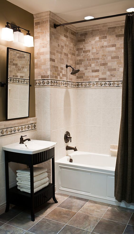 29 Ideas To Use All 4 Bahtroom Border Tile Types | bathrooms | Pinterest |  Border tiles, Bath and Bathroom tiling