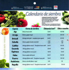 Calendario de siembra - Pro Huerta - Otoño/Invierno - Argentina
