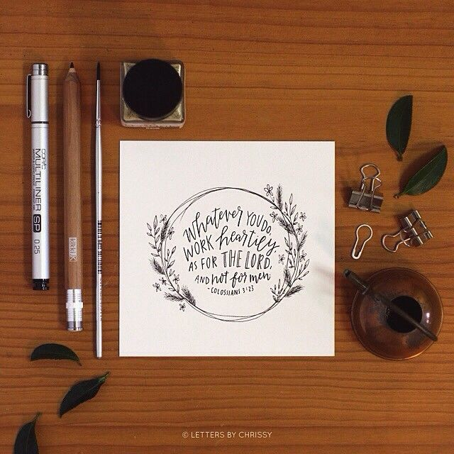 """""""Whatever you do, work heartily, as for the Lord and not for men"""" - Colossians 3:23 ✨✨✨ A work in progress today! @hesmith4 commissioned me to letter this verse for her, to put on her desk at work. Isn't that a great idea? So encouraging to have that constant reminder. ✏️ happy Sunday morning / Saturday evening!"""
