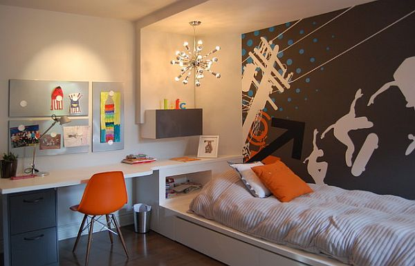Modern white and orange teen boys room