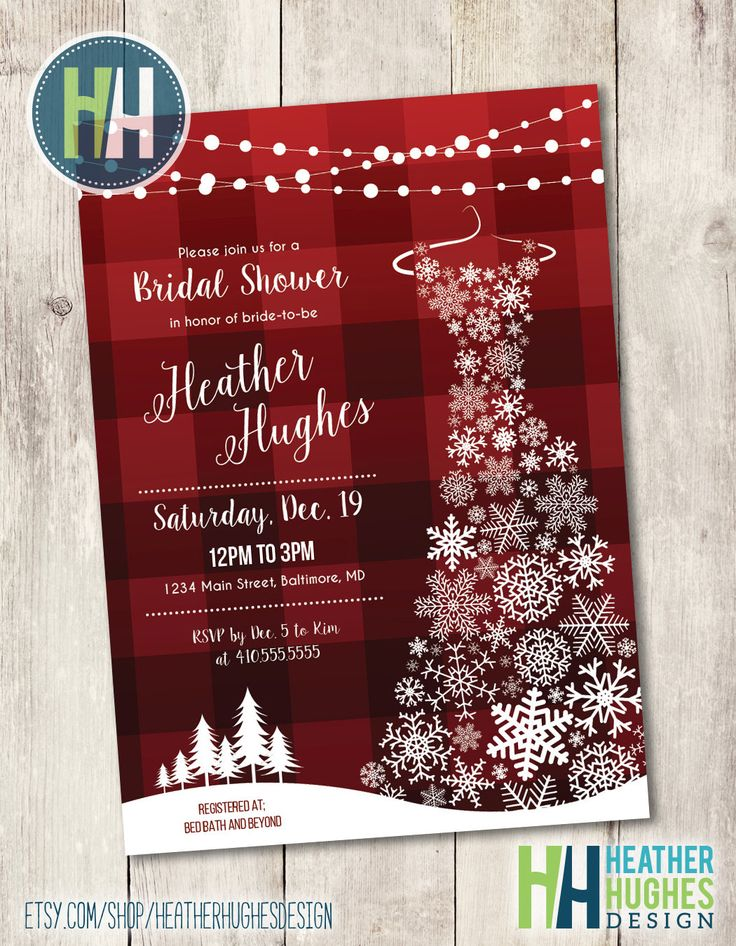 winter bridal shower invite, snowflake printable invitation,  winter wedding Christmas snowflake dress red plaid snow trees personalize by HeatherHughesDesign on Etsy
