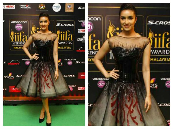 Shraddha Kapoor picked a Georges Chakra embellished black tulle dress which featured a full-skirted look.