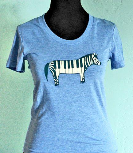 Zebra Piano T-shirt (Blue)