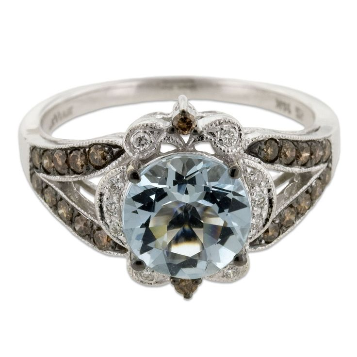 Le Vian 14k White Gold Round Sea Blue Aquamarine Ring With 35 Carat And