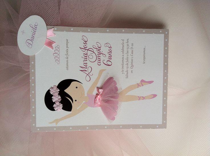 Invitación fiesta de cumpleaños de Balletista  hecha con mucho amor y un pedacito de tul :) Ballerina Birthday party invitation!