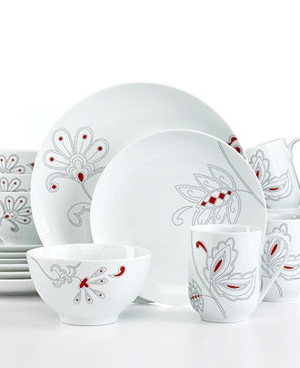 Gourmet Basics by Mikasa Dinnerware, Chantel Red 16 Piece Set - Casual Dinnerware - Dining & Entertaining - Macy's