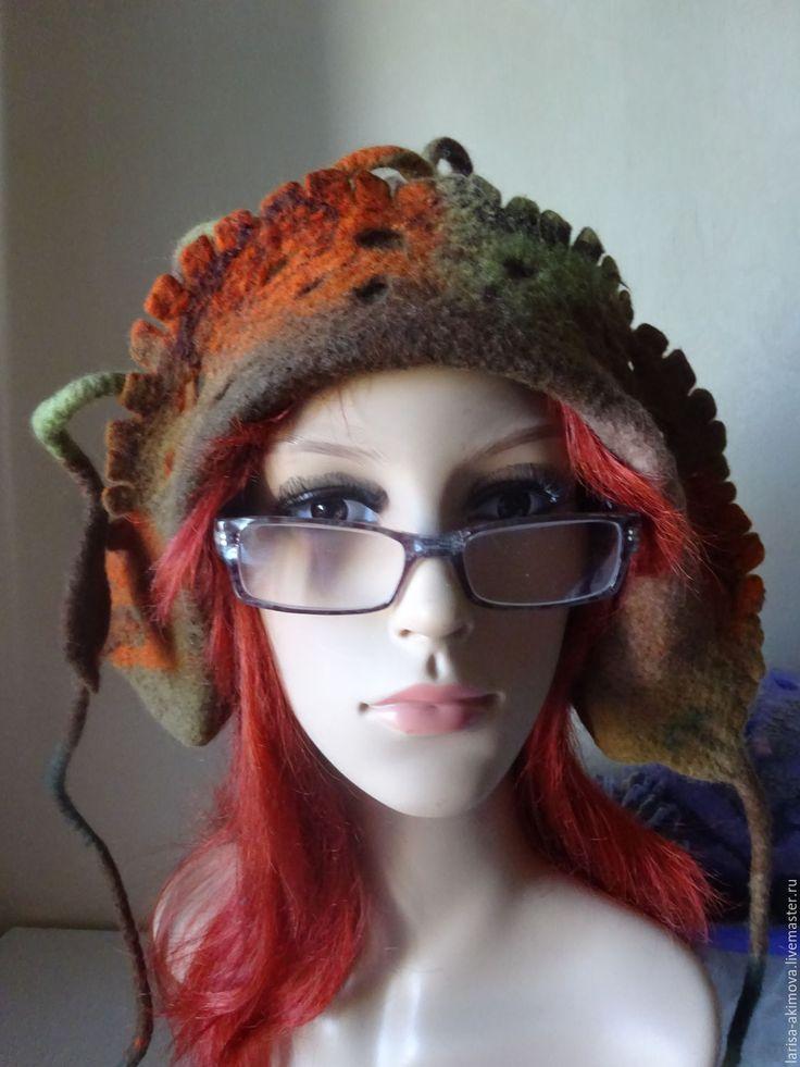 Купить Валяная шапочка Эльфийская. Готовая работа - коричневый, однотонный, валяная шапка, войлочная шапка