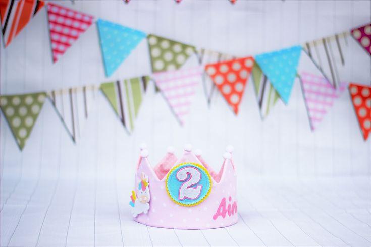 Decoración de cumpleaños unicornio, fiesta unicornio, corona de cumpleaños niña, corona de tela, corona reversibles
