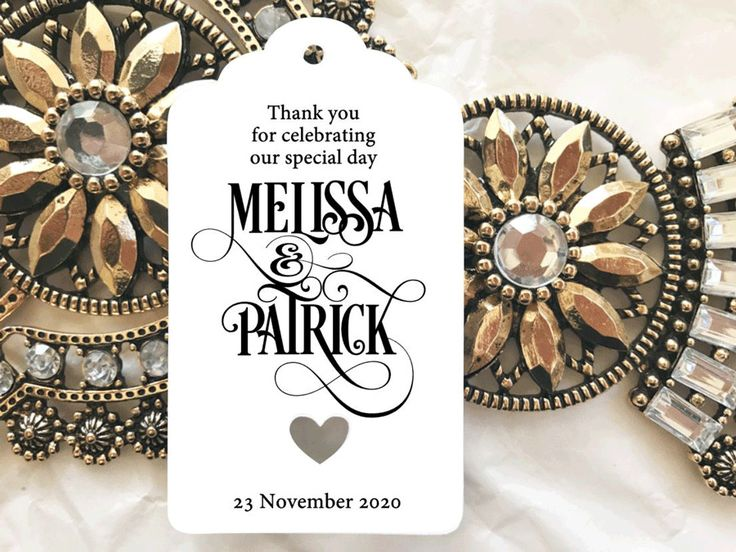 10 White Gift Tags Wedding Favour Bomboneire Personalised Thank you celebrating #Unbranded
