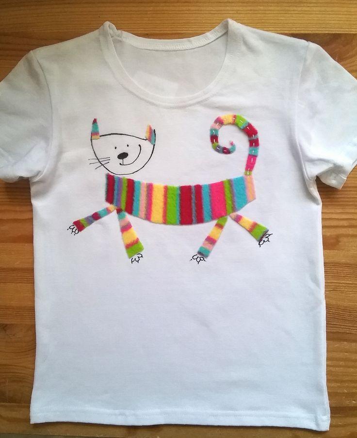 """Футболка """"Кот Пушкинс"""". Аппликация и рисунок на ткани. Принимаю заказы! ) T-shirt """"Cat Pushkins """" applique and drowning on fabric. Take orders! )"""