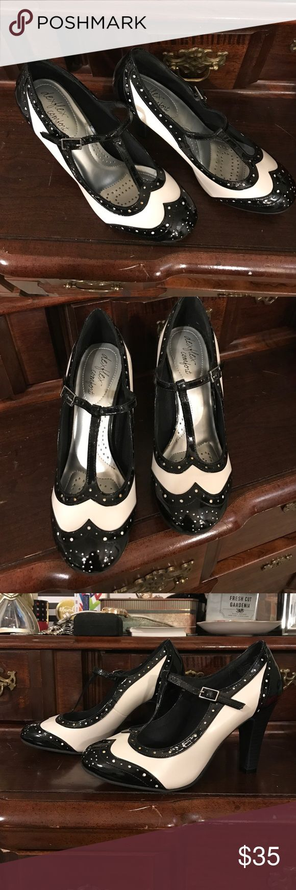 "Black &white Mary Jane comfy wingtip heels shoes 8 Super cute black-and-white, wingtip  pinup style heels shoes. Brand-new unused super comfy by dexflex comfort brand. 4"" heel and the soles are padded like shock absorbers. New no big, threw it away. DexFlex comfort Shoes Heels"