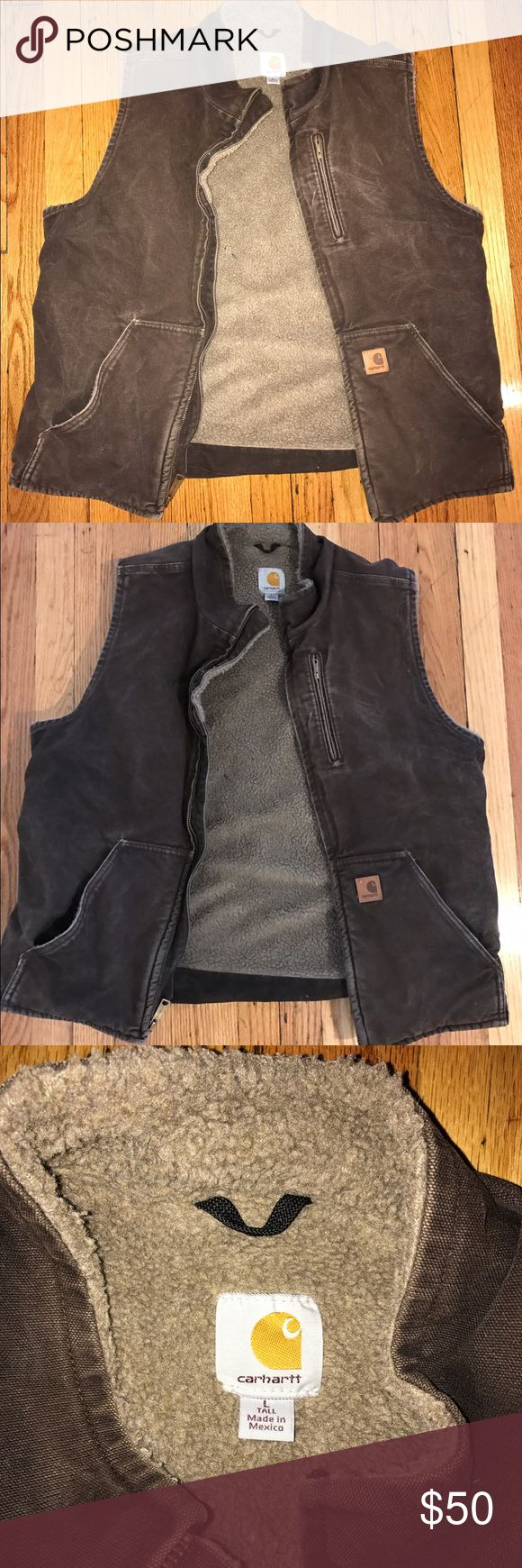 Carhartt sherpa lined sandstone mock neck vest Comes from a smoke and pet free home.                         Will ship next day from NY.                                                For sale only, feel free to make an offer!!                          This Carhartt sherpa lined sandstone mock neck vest is perfect for layering. Made of 12-ounce, 100% cotton sandstone duck. Features a sherpa lining. Two large, sherpa-lined front pockets, two inside pockets and map pocket with zipper closure…