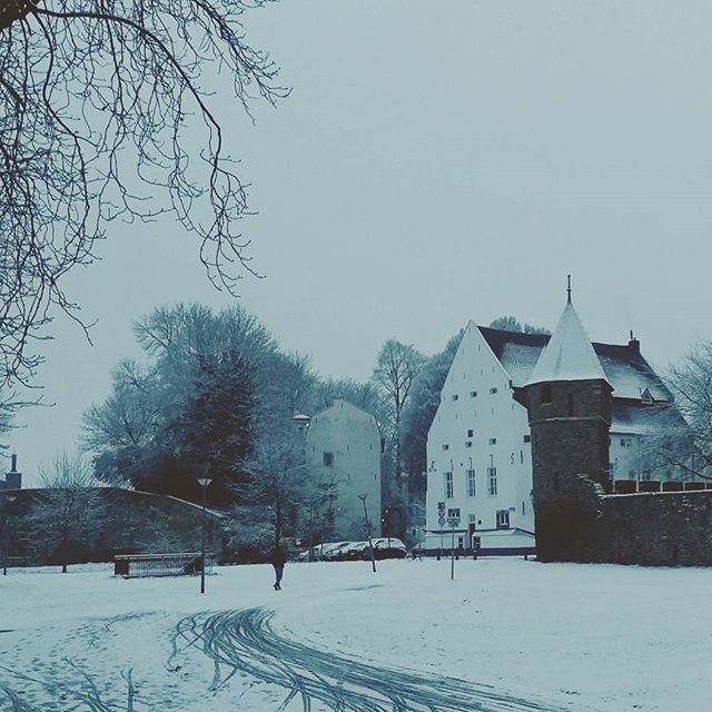 We rode around on our bikes today to really soak up Maastricht in the snow.