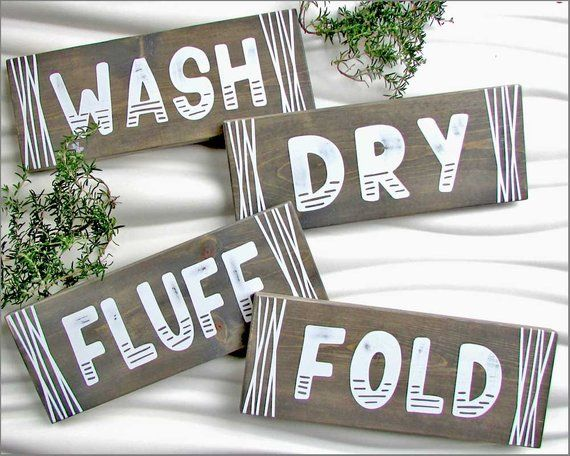 Wash Dry Fold Sign Wash Dry And Fold Fluff Wood Laundry Sign Decor Laundry Set Rust Laundry Room Decor Signs Wooden Laundry Signs House Warming Gifts