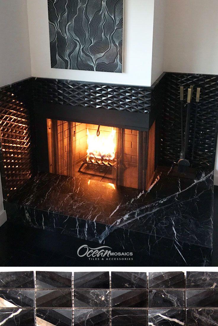 Diamond Marquina Black Marble Tile Black Fireplace Wall Black