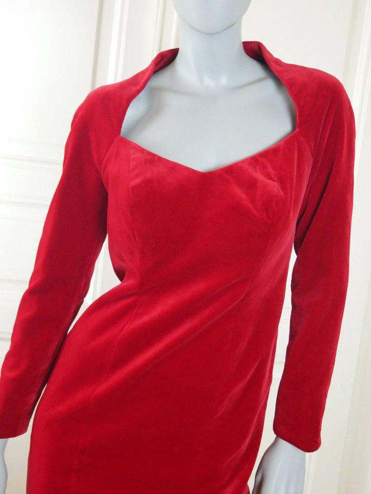 German Vintage Red Velvet Midi Dress, Elegant European Red Velvet Dress w Queen Anne Neckline: Size 8 US, Size 12 UK by YouLookAmazing on Etsy