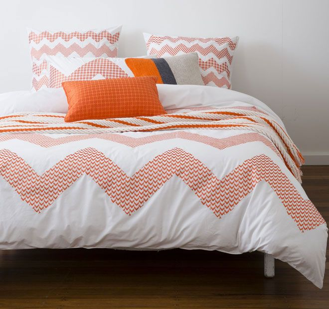 Zig Zag Orange KAS ROOM  Features: Cotton 250 thread count Embroidered - #quiltcovers