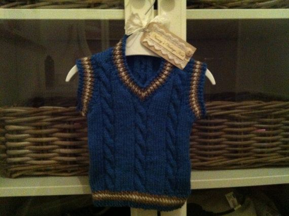 Adorable cable knit tank top baby boy sizes by NannysVintageKnit, £10.00