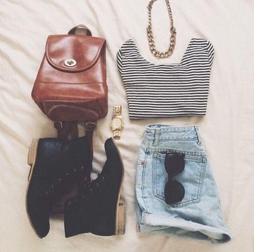 stripes + vintage brown leather