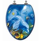 TOPSEAT 3D Ocean Series Elongated Closed Front Toilet Seat in Blue