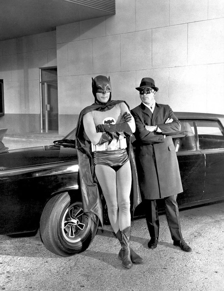 "Adam West, Van Williams, with the Black Beauty / during production of the Green Hornet and Kato's appearance on Batman in the two-part second-season episodes ""A Piece of the Action"" and ""Batman's Satisfaction"" Originally broadcast .... March 1 & 2, 1967"