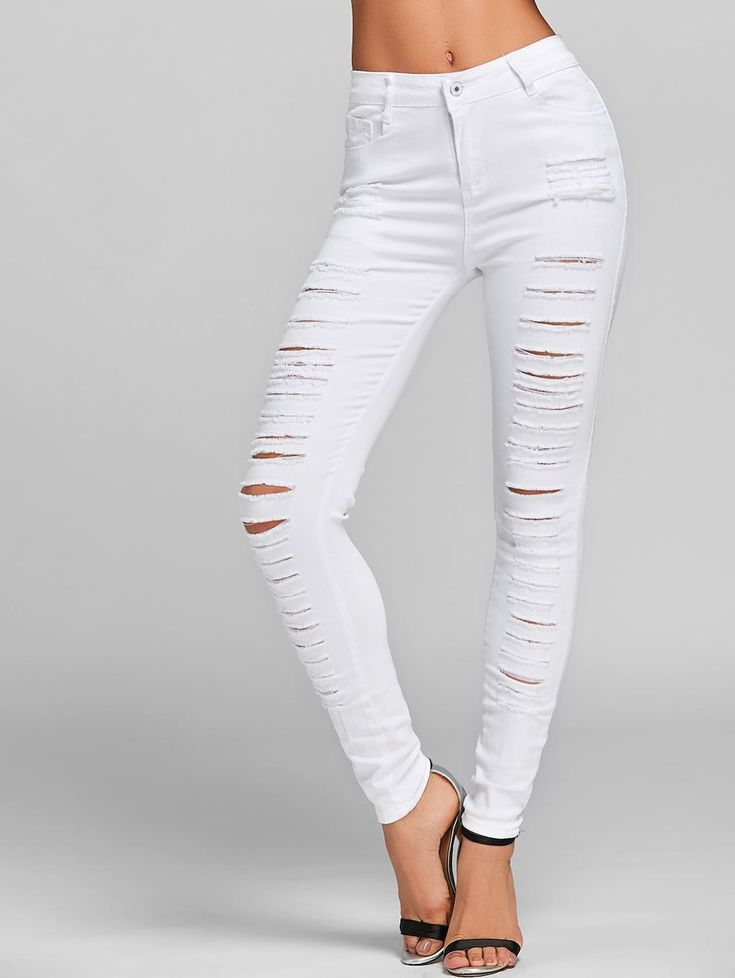 Ripped Jeans with Pockets - WHITE L
