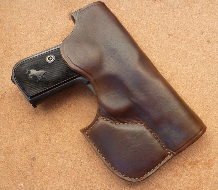 Pocket carry 1903 style. Custom pocket carry leather holster for Colt Model 1903 Pocket Hammerless. Ambidextrous design for Left & Right hand use in hip, coat or rear pocket carry. Designed and handmade by makeitjones.co.uk
