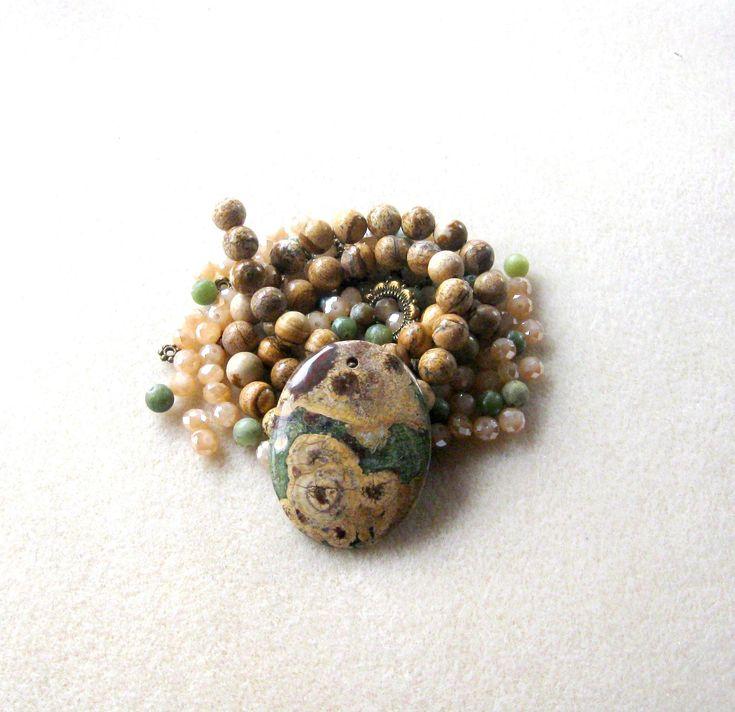 Jasper Pendant, Picture Jasper, Serpentine Beads, Glass Beads, DIY Jewelry Kit, Jewelry Making Beads, Bead Kit, Gemstone Bead, Necklace Kit by CatsBeadKitsandMore on Etsy