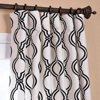 Ogee Black Printed Cotton Curtain Panel | Overstock.com