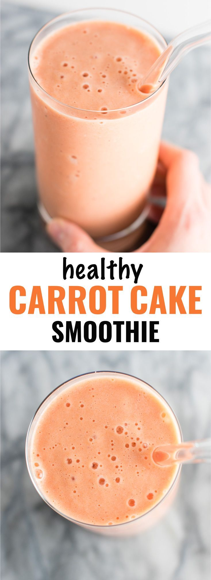 Healthy carrot cake smoothie recipe. Breakfast? Dessert? It can be either!