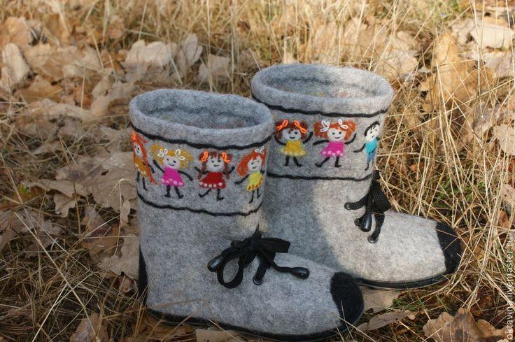 """Купить Детские ботинки из овечьей шерсти """"Танцующие детки"""" - серый, обувь ручной работы"""