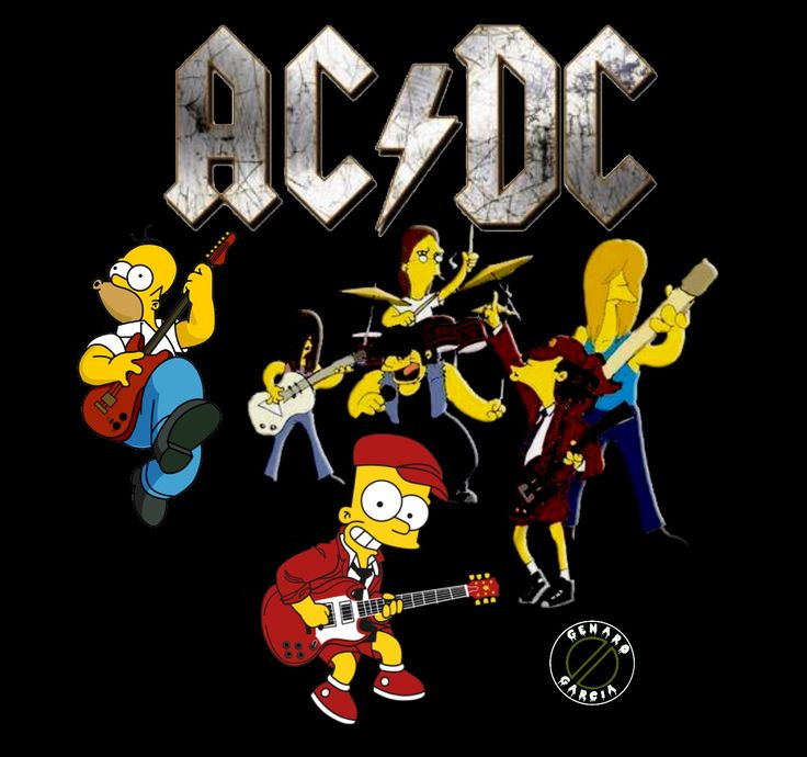 ACDC Bart Simpson | AC/DC | Rock, roll bands, Heavy metal ...