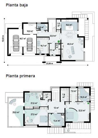 Plano de lujosa casa moderna de 2 pisos con 3 dormitorios for Planos de casas de un piso 3 dormitorios
