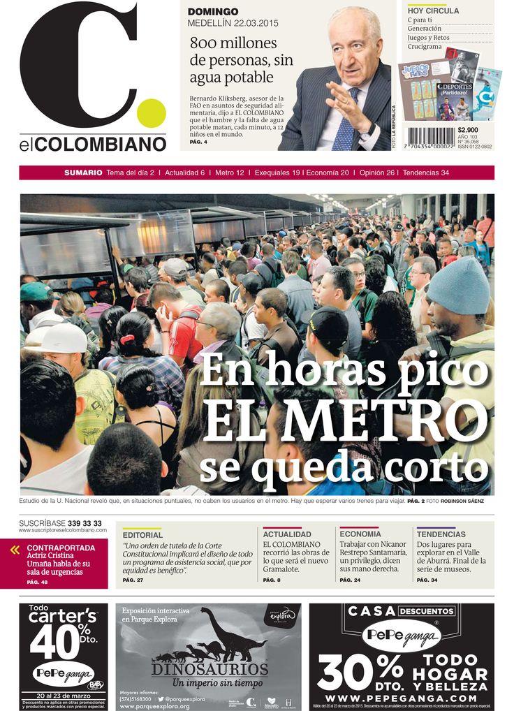 Portada de El Colombiano para el domingo 22 de marzo de 2015.