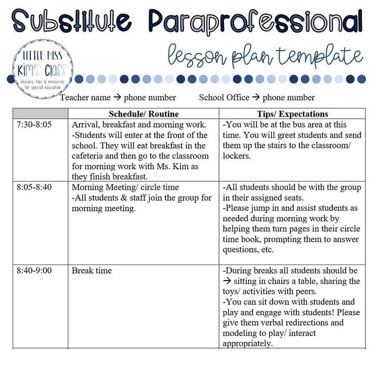 paraprofessional substitute re schedule template enough plan lucky lesson templates then plans sub para instagram